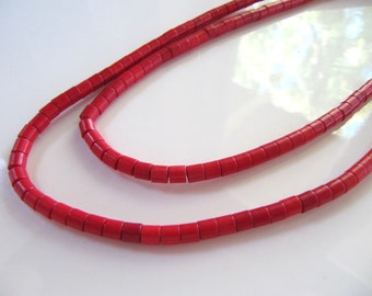 4mm Turquoise Beads, Imitation, in Red, Tube Beads, 1 Strand, 16 Inches, Approx 105 Pieces