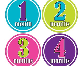 12 Monthly Baby Milestone Waterproof Glossy Stickers - Just Born - Newborn - Weekly stickers available - Design M003-05