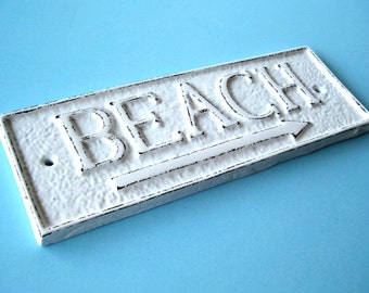 Beach Sign with Arrow, 21 Colors, Cast Iron Decorative Beach Sign, Beach House Decor, House Warming Gift for Beach Lovers