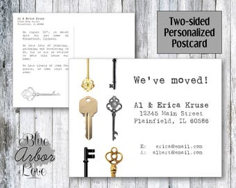 """Moving Announcement With Keys 4x6"""" Printable Customized"""