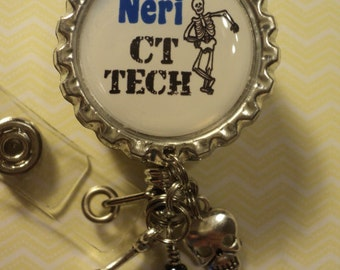 Personalized X-Ray Tech badge reel with charms