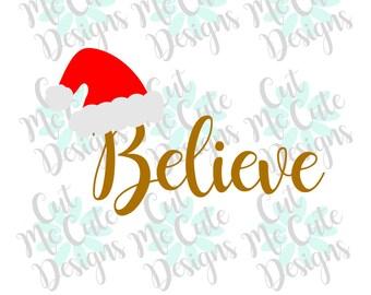 SVG DXF PNG cut file cricut silhouette cameo scrap booking Believe Santa
