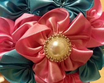 Pink & Turquoise Cluster flower headband