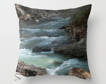 Rocky Mountain Pillow Case, Rustic Cushion Cover, Earthy Brown and Turquoise Throw Pillow, Alberta Canada, Lake House Art, Sofa Accent