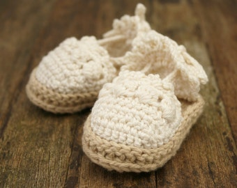 Baby Girl Sandals - Espadrille Sandals - Crib Shoes - Baby Girl Christening Shoes - Crochet Baby Shoes - Infant Sandals - MADE to ORDER