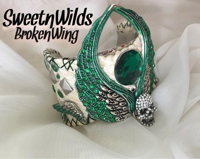 Winged Emerald Cuff Bracelet
