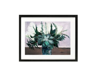 Succulent tulips painting bouquet illustration, leaves painting, bridal succulent greenery gardening gift, succulents wall art, original art