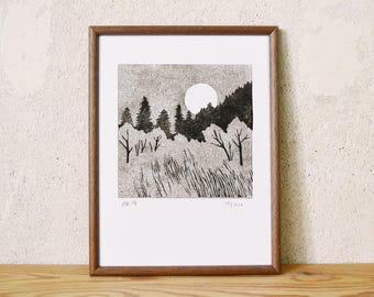 moon series 10 · original linocut · Limited Edition · DIN A5
