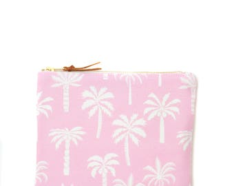 Handmade cluth, purse - Palm trees on pink background