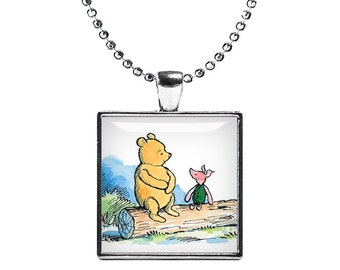 Winnie the Pooh and Piglet Necklace Pendant Classic Winnie Fandom Jewelry Gift for best friend