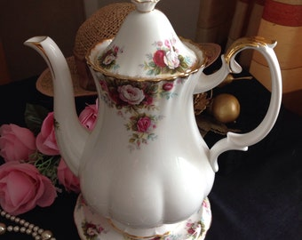 "Royal Albert ""Celebration"" .  Large bone china teapot  and stand."