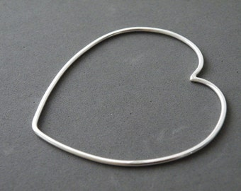 Sterling Silver Heart Bangle Minimalist Romantic Bangle Outlined Heart Bangle by SteamyLab