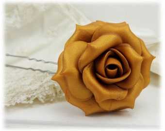 Gold Rose Hair Clip Pin - Gold Rose Hair Flower, Gold Flower Hair Pin