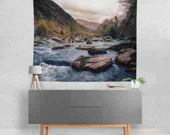 Rocky River Wall Tapestry, Nature Wall Tapestry, Mountain Bedroom Decor, Wilderness Home, Blue Water Wall Tapestry, Wales UK Britain Decor