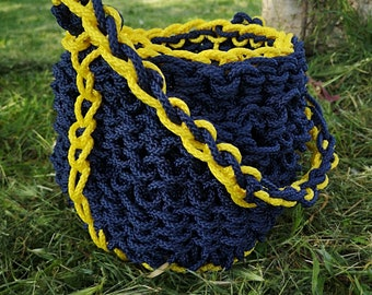 Rope bucket-Blue rope bag with yellow navy motif