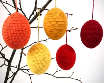 Easter eggs /set of 5/ Crochet ornaments, colorful spring decoration