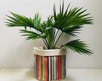 Indoor Planter Cactus Succulent Storage Bag Pouch Basket Plant Pot Toucan Stripes African Weave Cotton Multicoloured
