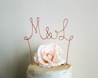 MONOGRAM Wedding Cake Topper, Initials Wedding Cake Topper, Rustic Wedding Cake Topper, Anniversary Cake Topper,Engagement Party Cake Topper