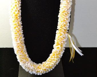 Hawaiian Samoan Satin Ribbon Plumeria Style Lei-white/yellow Pretty Things By Karol