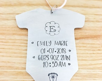 Baby Stats Gift - New Baby Gift -  - Mothers Day Gift New Mom - Hand Stamped Personalized Baby Gift - Baby Stats Ornament