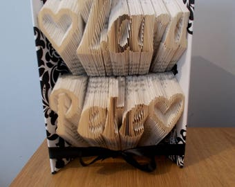 Personalised folded book art - couples gift - unique gift for couple - wedding gift - engagement gift - anniversary gift - paper anniversary
