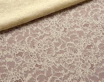 Ivory Stretch Lace Fabric, Ivory Wedding Dress Lace Fabric, Antique Style Wedding Lace, Victorian Wedding