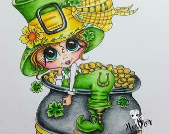 INSTANT DOWNLOAD Digital Digi Stamps Big Eye Big Head Dolls Digi IMG250 St Patrick Day Bestie By Sherri Baldy