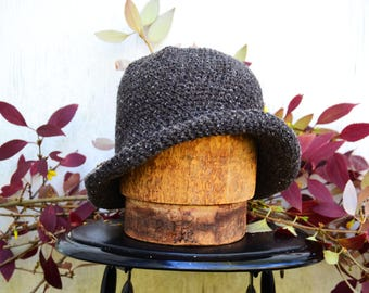 Cute Knitted Winter Hats for Women, Short brim Cloche Hat, Tweed Hat, Bucket Hat, Winter Hat, Gifts for Her, Gifts for Traveler, Winter Cozy