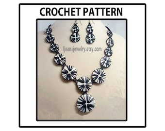 Crochet Around Button Necklace and Earring Jewelry Pattern