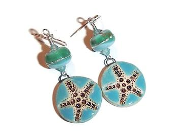 Lamwork and Ceramic Starfish Earrings Beach Earrings Starfish Sea Summer Jewelry BE44