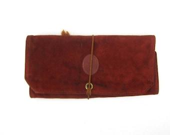 80s Suede Leather Clutch Basic Envelope Fold Over Handbag Vintage Minimal Brown Leather Hand Bag Boho Jewelry Bag Simple Hipster Bag