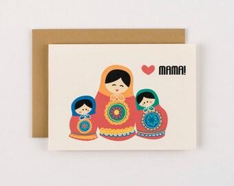 Russian Babooshka Doll Mother's Day Greeting Card