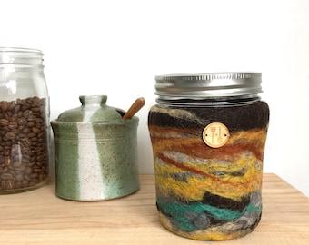 Mason Jar Cozy | Felt Mason Jar Cover | Felted Wool Coffee Sleeve | Mason Jar Tumbler | Insulated Jar Sleeve | Wool Felt Cozy | Drink Jar