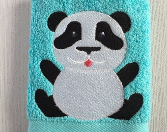 Panda Facecloth, Childs Washcloth, Kids Flannel, Machine Embroidered Facecloth, Gifts for animal lovers, Birthday Gifts, Christmas gifts