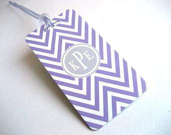 Luggage Tag PAIR - Lavender and White Chevron Custom Monogram Luggage Tag - Personalized Luggage Tag - Travel Tag - Your Monogram