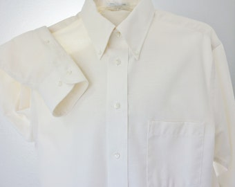 60s Mens Ivory Oxford Shirt Arrow Long Sleeve Unworn 15.5 Mint
