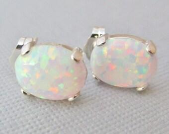 Opal Earrings, Opal Stud Earrings, Sterling Silver Opal Earrings, White Opal Earrings, Opal Jewelry, Gifts For Her, White Opal Jewelry