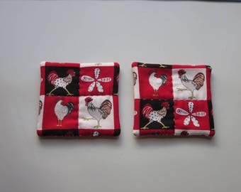 refrigerator magnets red chicken roosters hand quilted refrigerator magnets set of 2