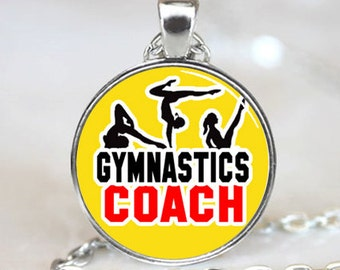 Gymnastics Coach on Yellow Back Ground Photo Pendant (PD0418)