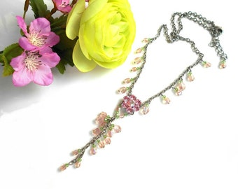 Pink Flower necklace with Swarovski crystals and pink and green beads