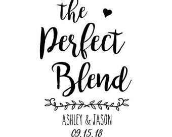 laurel stamp- Custom Wedding Stamp -The Perfect Blend Stamp, Wedding Favors Stamp, Thank You Stamp, Self Inking Stamp, Rubber Stamp