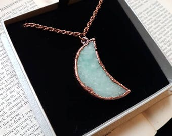 Moon Pentant - Natural blue moon Druzy electroformed necklace - electroformed jewellery- electroforming- Necklace Pendant- Valentine's - UK