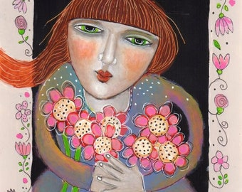 drawing illustration painting  girl woman whimsical flowers paper original modern folk art paper