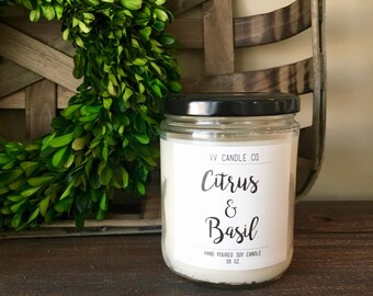 Soy Candle, Citrus and Basil Scent, Relaxation gift, Handmade All Natural Soy Candle, House Warming Gift, Mother's Day Gift, Candle lover