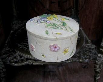 Wildflower Box, Ceramic Box, Floral Box, Flower Box, Vintage Box, Trinket Box, Jewellery Box, Keepsake Box, Jewelry Box, Ceramic Trinket Box