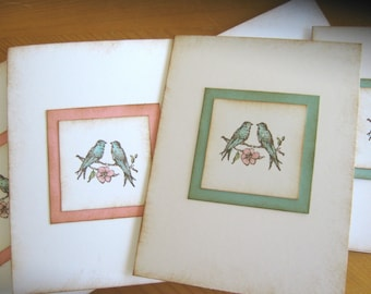 Vintage Style Shabby Chic Pink and Aqua Lovebird invitations or notecards