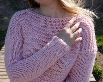 Pink Womens Sweater, Mohair Sweater, Loose Knit Sweater, Chunky Sweater, Hand knit sweater, Chunky Jumper, Oversized, Casual Sweater