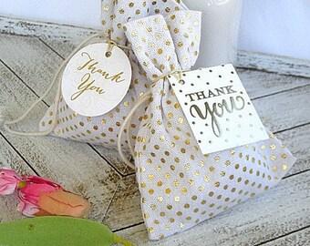 Gold Dot Favor Bag Wedding Favor Bag Custom Gold Foil Favor Bag w Tag Shower Personalized Favor Bag w Custom Tags