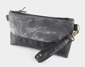 Crossbody Clutch made from waxed canvas and recycled bike inner tubes