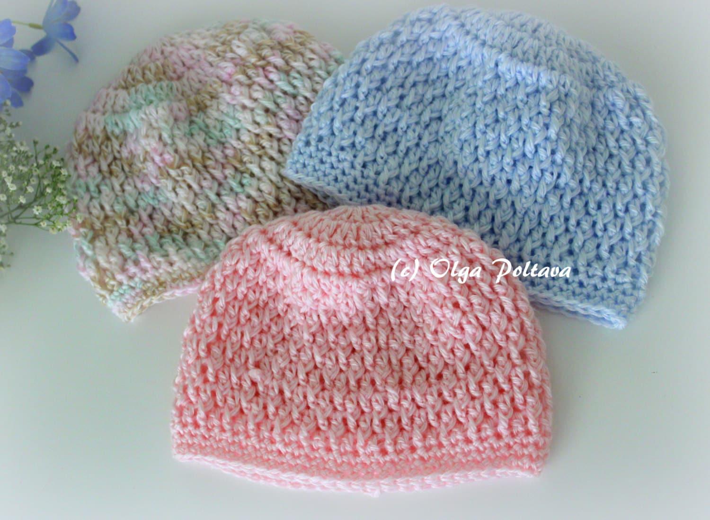 Newborn Baby Beanie Hat Crochet Pattern Size 0-3 Months Boys